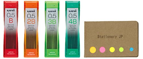 Uni NanoDia Mechanical Pencil Leads, 0.5mm, B, 4 Types, total 160 Leads, Sticky Notes Value Set