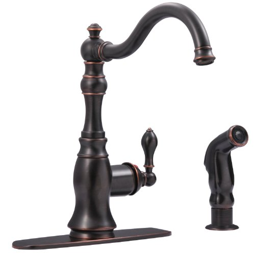 Ultra Faucets UF11245 Signature Collection Single-Handle Kitchen Faucet with Side-Spray, Oil Rubbed Bronze
