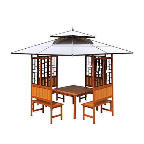 HLZY Garden Furniture Gazebo Wooden Garden Gazebo, Patio Pavilion, Double Top Ventilation, Garden Bird Pavilion Park Pergola, for Patio Garden Poolside Outdoor Canopy (Color : Gray)