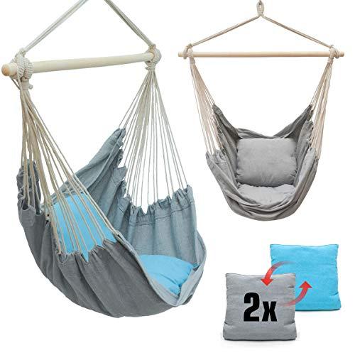 AMANKA Mit 2 Kissen zum Wenden - Balkon Hängesessel Grau Blau - Outdoor Hängeschaukel für Garten