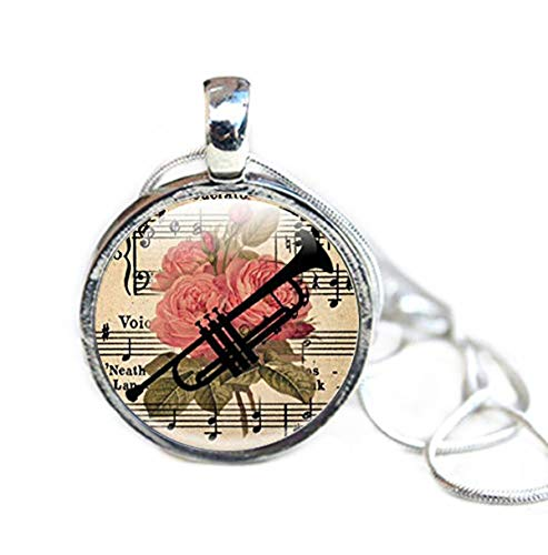 Bijoux Trompette, Collier Floral avec Silhouette de Trompette, Instruments à Vent, Trompette,...