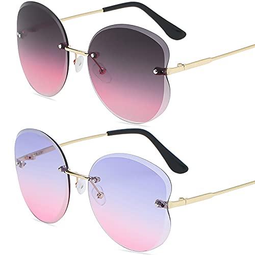 HFSKJ Pack de 2 Gafas de Sol, Gafas de Sol para niños Gafas con protección UV con Ribete Retro Poligonal Las Gafas sin Montura Son adecuadas para Hombres y Mujeres,F