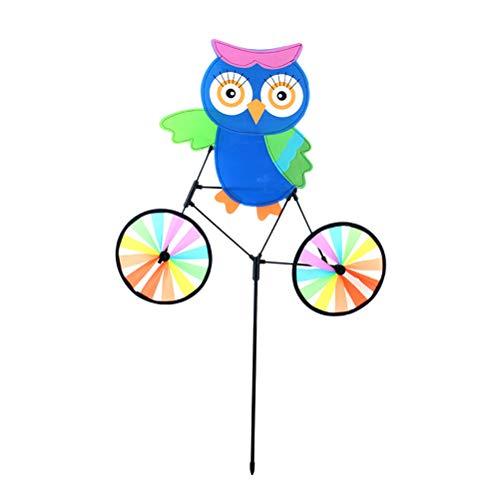 VORCOOL 3D Eule auf Fahrrad Windmühle Windrad Whirligig Kinder Spielzeug Garten Rasen Party Outdoor Dekoration Windmühle Spielzeug Geschenk für Kinder (Blau)