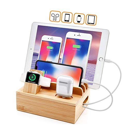 QILade Yzcing Bamboo Charging Station Dock for 4/5 / 6 Ports USB Charger,Desktop Docking Station Organizer for Cellphone,Smart Watch,Tablet Multiple Devices