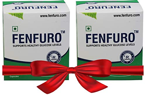 Fenfuro diabetes supplement for healthy blood glucose/blood sugar, patented, clinically evaluated, natural -30 capsules (Pack of 2)