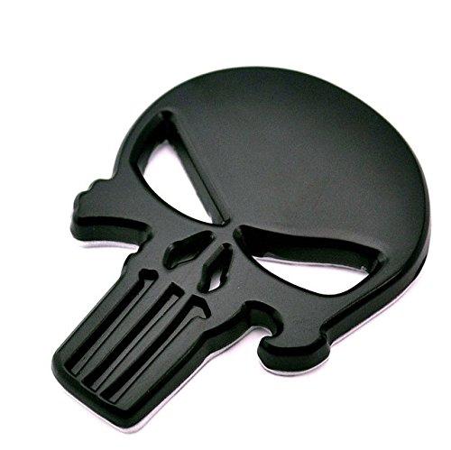 BENZEE B561-B Black Skull Punisher Car Styling Emblem Decal Badge Sticker Metal 2.3 x 1.7 inch