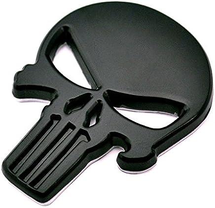 BENZEE B561-B Black Skull Punisher Car Styling Emblem Decal Badge Sticker Metal 2.3 x