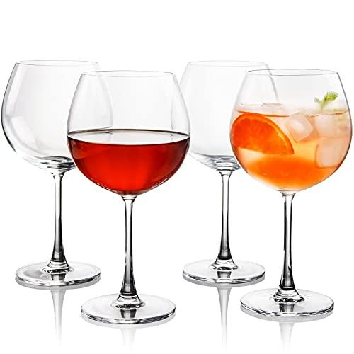 FAWLES Juego de 4 vasos de cristal para ginebra y tónica, 640 ml, perfectos para el hogar, restaurantes y fiestas, aptos para lavavajillas