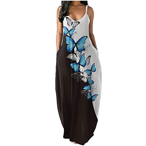 QI_LIANG Damen Freizeitkleider Damenmode Sommer Casual Print Lange Kleider mit V-Ausschnitt Sexy ärmellose Kleider Lange Kleider