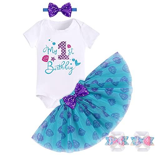 Conjunto de ropa para bebé y niña, diseño de sirena de primer cumpleaños para torta de manga corta, tutú, falda, diadema, sandalias descalzadas, 4 piezas de princesa, partido de fotos, azul, 12 Meses