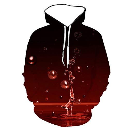 Sudadera Unisex De Mangas Largas con Capucha, Sudadera con Estampado Digital 3D De Gotas De Agua De Color Rojo Sangre, Ropa Exterior De Moda Y Personalidad con Grandes Bolsillos
