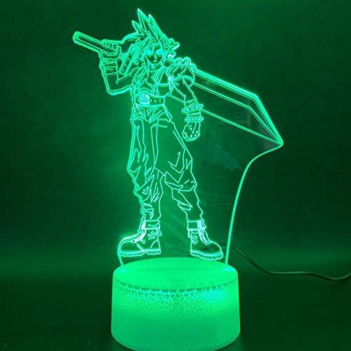 Neuheit Licht Final Fantasy Cloud Strife Figur Wohnkultur Farbwechsel Geburtstagsgeschenk für Kinder Schlafzimmer 3D Led Nachtlicht Lampe