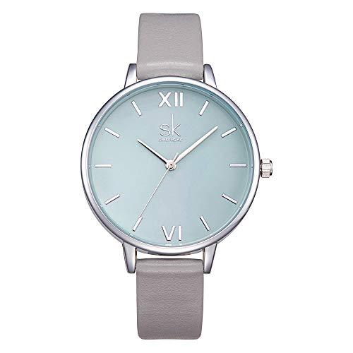 SHENGKE Frauen Uhren Lederband Luxus Quarz Uhren Kleid Mädchen Damen Armbanduhr