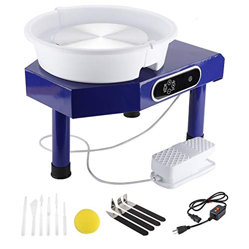 YaeKoo 25CM LCD Display Touch Screen Electric Pottery Wheel Machine Table Top Ceramic Forming Machine with Foot Pedal Removable Detachable ABS Basin DIY Clay Art Craft Shaping Tools (Blue)