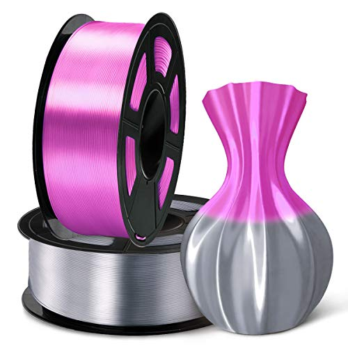 SUNLU 3D Filament 1.75, Shiny Silk PLA Filament 1.75mm, 2KG PLA Filament 0.02mm for 3D Printer 3D Pens, Grey + Purple