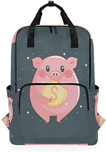 Cartoon rosa Schwein Geld niedlichen Tier Sterne Rucksack Schule Reise Daypack Laptop College Bookbag 14 Zoll Arzt Tasche