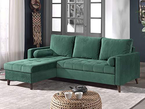 Canapé d'angle 4 places Velours Pas cher Contemporain Vert