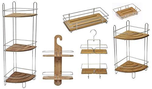 EVIDECO 9161195 Bathroom Metal Wire Shelf Basket Organizer with Bamboo Tray Brown
