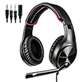 LETTON Stereo Gaming Headset for PS4, PC, Xbox One Controller, Noise Cancelling Over Ear Headphones with Mic, Bass Surround, Soft Memory Earmuffs for Laptop Mac Nintendo Switch Games (L6-Red)