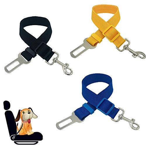 Dream HorseX Cinturón de Seguridad de Coche para Perros, Arnés del Cinturón de Nylon Ajustable Universal, Ajustable 45-72 cm, (Negro Amarillo Azul, 3 pcs)
