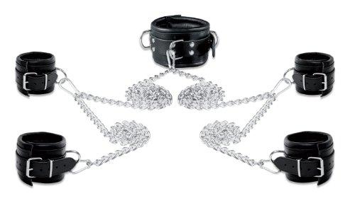 80mm Bondage Set Leder Fesselset mit Ketten Handfesseln Fußfesseln Halsband gepolstert schwarz
