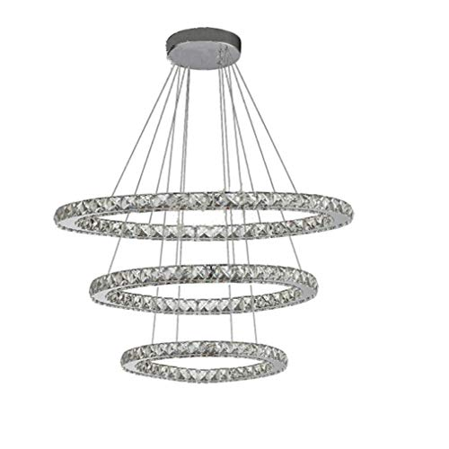 CHNG LED Kristall Design Hängelampe DREI Ringe Deckenlampe Pendelleuchte Kreative Kronleuchter, fur Esszimmer Schlafzimmer Wohnzimmer,20cmyellowlight