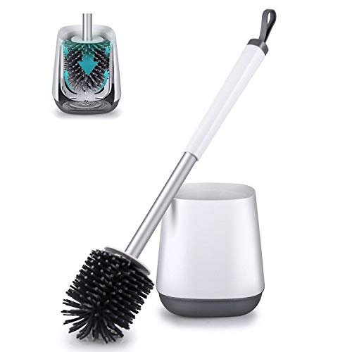 Toilet Bowl Cleaning Brush and Holder Set for Bathroom Storage and Organization, POPTEN Deep-Cleaning Toilet Bowl Cleaning Brush with Holder Silicone Bristles & TPR Soft Bristle,Floor Standing Whi...