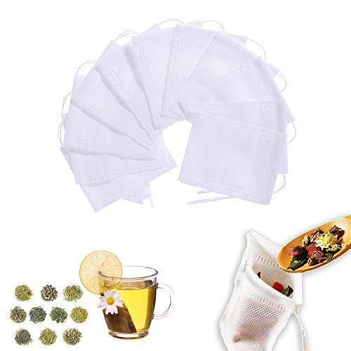 300 piezas Bolsita de te de Filtro Bolsita de te de las Hojas Bolsas de Filtro de Papel, Bolsas de Papel del Filtro de Te de Bombeo Linea de Desechable 5 * 7 cm / 7 * 9 cm / 8 * 10 cm (Blanco)