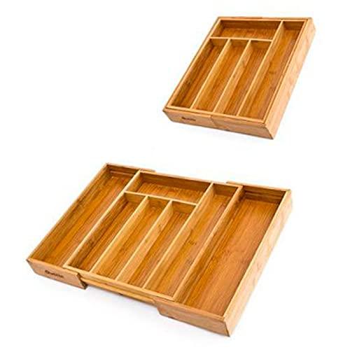 Quttin - Cubertero, organizador de cubiertos de bambú extensible 5 a 7 compartimentos, 46 x 43 x 5 cm. Bandeja, porta utensilios