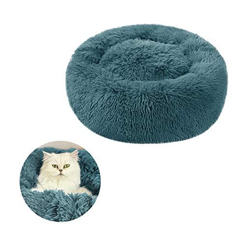 Cómoda cama redonda de felpa para perro en el interior suave y esponjoso donut perro gato cojín cálido lavable mascota nido impermeable cama para cachorro, gatito recién nacido mascotas calmante mejo