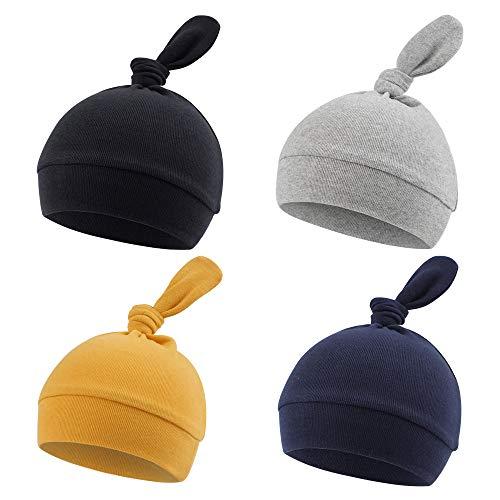 Gorro de algodón para bebé recién Nacido, niña, Sombrero Suave para Nacimiento, para Primavera, otoño, 4 Piezas (Color C, 0-3Meses)
