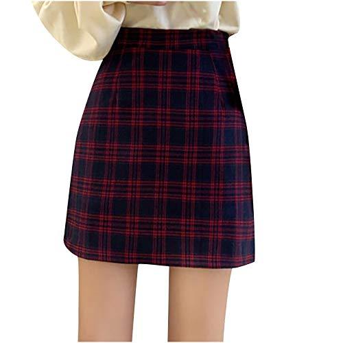 Yue668 - Falda ajustada con banda elástica para mujer, falda con estampado a cuadros
