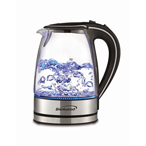 Brentwood KT-1900BK Glass Electric Kettle, 1, clear