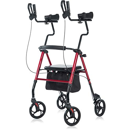 """ELENKER Upright Walker, Forearm Rollator Walker Stand Up Rolling Walker with Padded Seat and Backrest for Seniors from 5' to 5'11"""", Red"""