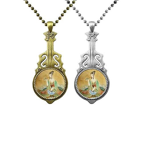 Halskette mit Anhänger, chinesische Gitarre, antiker Stil, für Paare