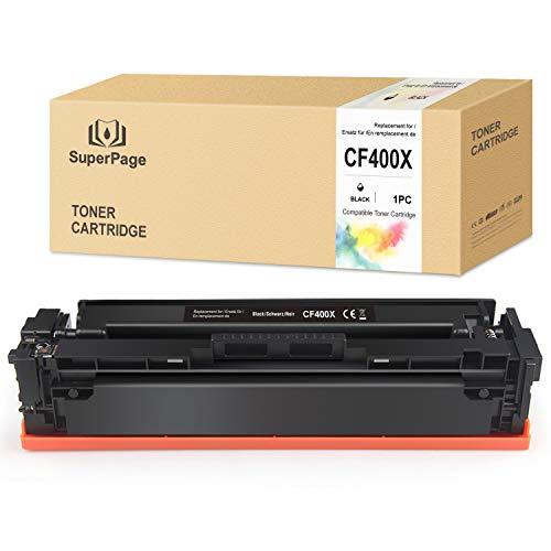 Superpage CF400X reemplazo para HP 201X 201A CF400X CF400A Cartuchos de tóner para HP Color Laserjet Pro MFP M277DW M252DW M277N Laserjet Pro M252N M274N M252 M252DN (1Negro)