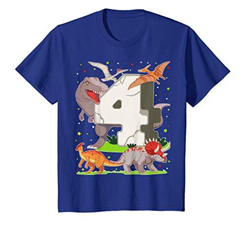 Niños 4 Años Para Regalo De Cumpleaños Figuras de Dinosaurio Camiseta
