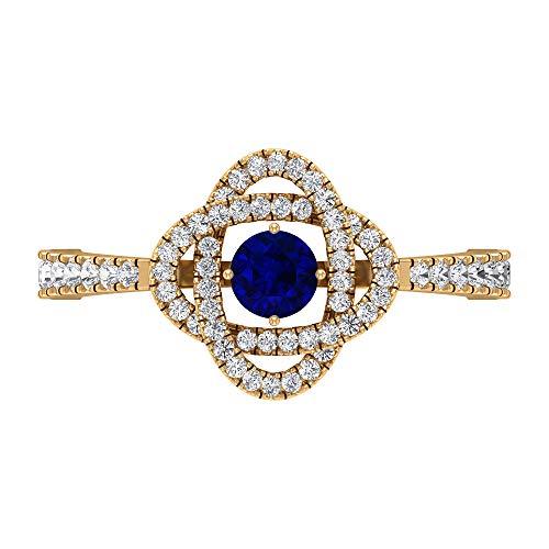 Rosec Jewels 14 quilates oro amarillo redonda round-brilliant-shape H-I Blue Diamond Blue Sapphire