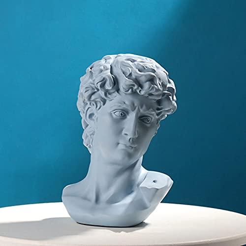 Escultura Famosa Estatua del Busto De Yeso Figurilla De Mitología Griega Retratos De Yeso Estilo Nórdico Práctica De Dibujo Artesanía Decoración del Hogar-David Azul 28.5x21cm(11.2x8.3inch)