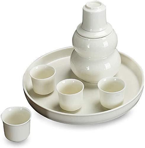 CHUTD Set di 8 Pezzi di Sake Giapponese, Bicchieri da Vino Tradizionali con scaldino e Vassoio, Classico Senza Tempo - Bianco, per Il Servizio di Sake Caldo/Freddo Miglior Regalo per la Famiglia