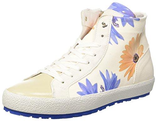 D'Acquasparta Damen Tessa Hohe Sneaker, Elfenbein (Flower of White FOW), 41 EU