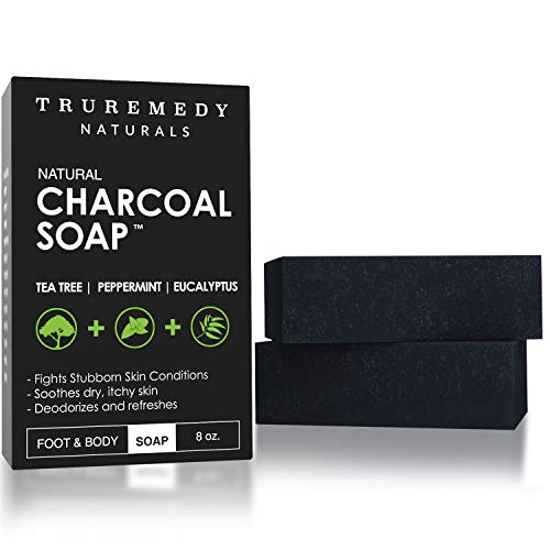 Natural Activated Charcoal Soap Bar (2-Pack) | Hand, Foot & Body Soap for Acne, Blackheads, Eczema, Athletes Foot | Tea Tree, Peppermint & Charcoal Soap | Vegan, Cruelty Free | Made In USA | 8 Oz