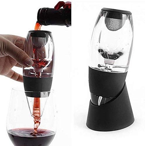 Duomi Wine Aerator | Acrylic Wine Breather Pourer and Filter with Display Stand - Black