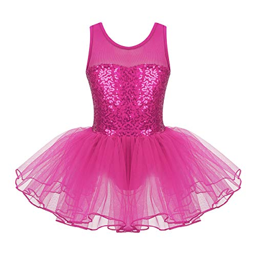 iixpin Vestito da Balletto con Paillettes Bambina Tutu Danza Classica Abiti da Ballo Latino Dancewear Ballerina Vestito Pattinaggio Artistico Body Ginnastica Artistica Rosa Rossa 9-10 Anni