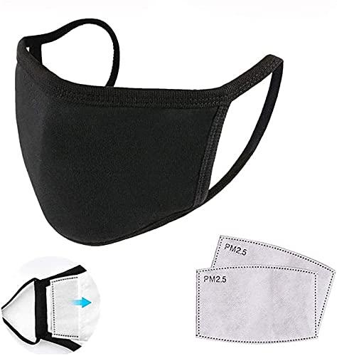 jiuyao Protector facial reutilizable de algodón lavable con insertos de filtro de carbón activado, reemplazo de filtro antineblina, protector facial para deportes al aire libre