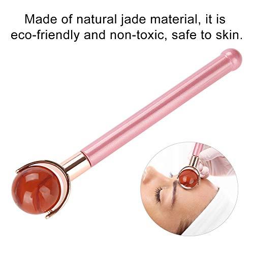 Lazimin Masaje con Rodillo de Jade, masajeador Facial con Rodillo de Jade con Mango ergonómico de Metal, Regalos para Mujeres(Redstone)