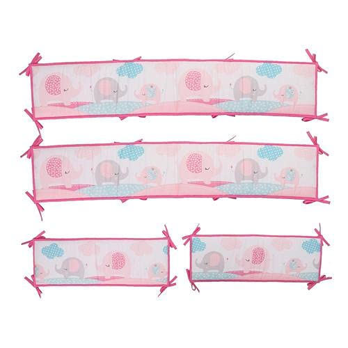 Cotton Baby Crib Liner Bumper Pads, 4 in 1 Breathable Safe Anti-Bump Crib Bumpers Baby Crib Protective Cushion Liner Soft Surrounding Protector Pad for Baby Girl Boy Toddler Bed Accessory