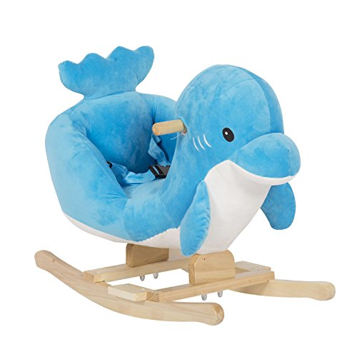 Kinsuite Baby Kids Ride-On Rocking Horse Animals Toy Plush Wooden Rocker with 32 Nursery Rhymes Seat Belts (Little Dolphin)