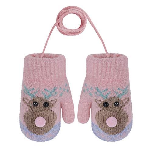 YSXY Niedliche Kinder Baby Fäustlinge Winter Warme Gestrickte Handschuhe mit Band Gefüttert Fausthandschuhe Strickhandschuhe für 2-6 Jahre Kleinkind Jungen Mädchen (Hirsch-Pink)