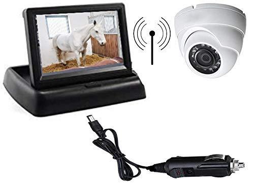 Frenkbox Kit sorveglianza PREASSEMBLATO Trailer Trasporto Cavalli Monitor 4,3' + Telecamera Wireless Senza Fili + Adattatore accendisigari Incluso